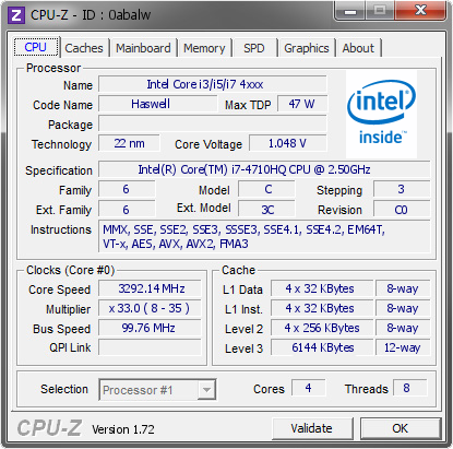 screenshot of CPU-Z validation for Dump [0abalw] - Submitted by  DAVIDE_PC  - 2015-05-10 11:05:06