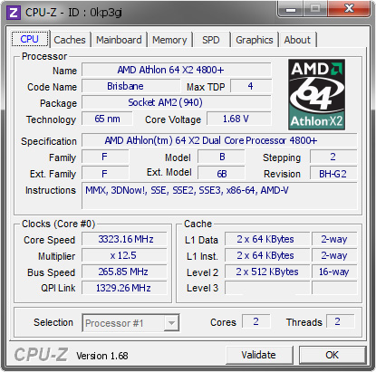 screenshot of CPU-Z validation for Dump [0kp3gi] - Submitted by  Caligola  - 2014-07-14 23:07:20