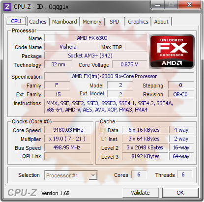 screenshot of CPU-Z validation for Dump [0qqg1v] - Submitted by  Zyu  - 2014-02-18 10:02:46