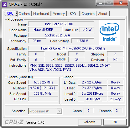 screenshot of CPU-Z validation for Dump [0z43kj] - Submitted by  duck  - 2014-10-13 15:10:46