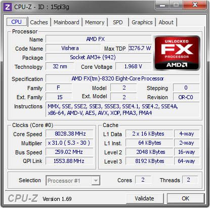 screenshot of CPU-Z validation for Dump [15pl3g] - Submitted by  tiborrr of OC-Lab.si  - 2014-04-17 21:04:34