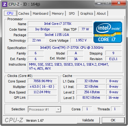 screenshot of CPU-Z validation for Dump [164jji] - Submitted by  wyt  - 2013-11-06 16:11:17