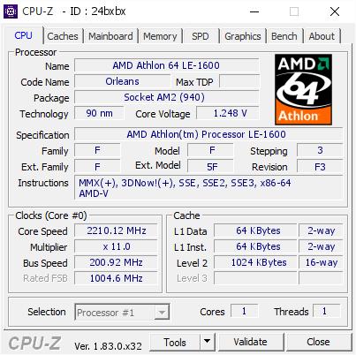 Amd Athlon 64 Le 1600 221012 Mhz Cpu Z Validator