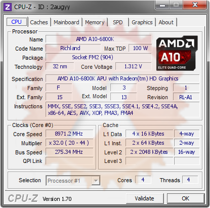 screenshot of CPU-Z validation for Dump [2augyy] - Submitted by  A10-6800K  - 2014-08-24 16:08:41