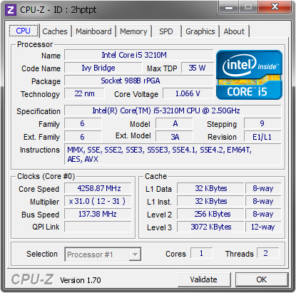 screenshot of CPU-Z validation for Dump [2hptpt] - Submitted by  SHIN  - 2014-10-24 10:10:46