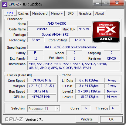 screenshot of CPU-Z validation for Dump [2ppbqv] - Submitted by  ELLIOTSDATOR  - 2014-10-16 18:10:39