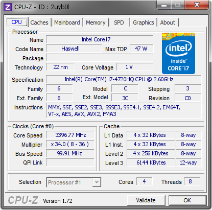 screenshot of CPU-Z validation for Dump [2uyb0l] - Submitted by  gigioracing  - 2015-07-19 14:07:38
