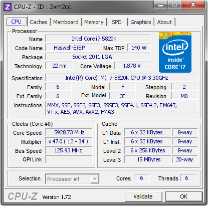 screenshot of CPU-Z validation for Dump [2vm2cc] - Submitted by  subaruwrc - 5820k 2nd run  - 2015-04-09 13:04:22