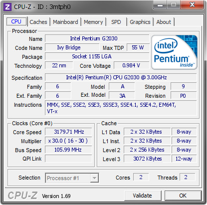 screenshot of CPU-Z validation for Dump [3mtph0] - Submitted by  Wartheridon  - 2014-04-12 21:04:22