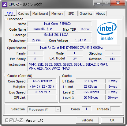 screenshot of CPU-Z validation for Dump [5iwcdh] - Submitted by  Nickshih  - 2015-05-25 15:05:53