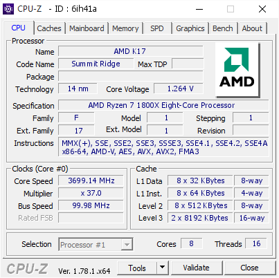 screenshot of CPU-Z validation for Dump [6ih41a] - Submitted by  BadMoonRyzen  - 2017-03-30 22:49:46
