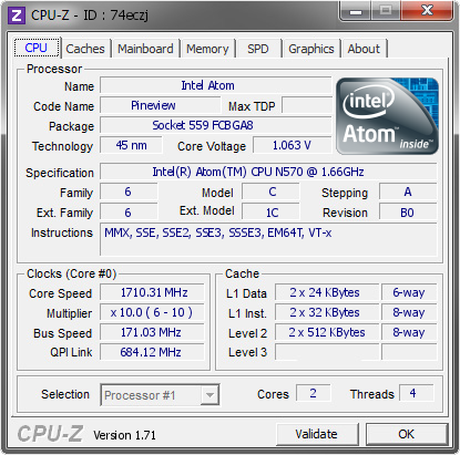 screenshot of CPU-Z validation for Dump [74eczj] - Submitted by  GENIUS_MINI  - 2015-01-16 15:01:59