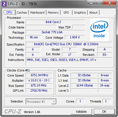 screenshot of CPU-Z validation for Dump [7fjk5r] - Submitted by  TaPaKaH  - 2012-04-06 18:04:25