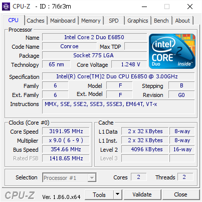 screenshot of CPU-Z validation for Dump [7i6r3m] - Submitted by  INTELDUO3GHZ  - 2018-11-08 21:11:04