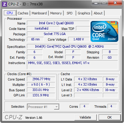 screenshot of cpu-z software validation