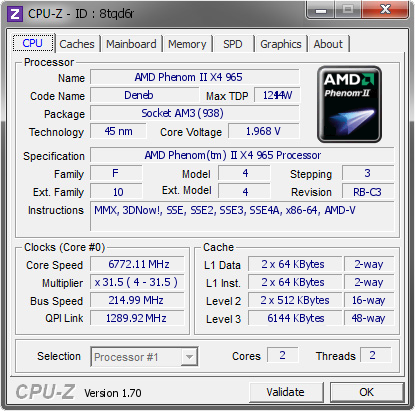 screenshot of CPU-Z validation for Dump [8tqd6r] - Submitted by  vow  - 2014-07-20 17:07:03