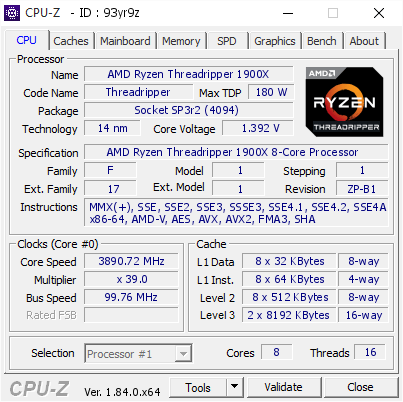 screenshot of CPU-Z validation for Dump [93yr9z] - Submitted by  RYZEN-X399  - 2018-04-16 14:58:55