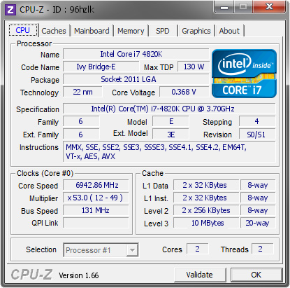 screenshot of CPU-Z validation for Dump [96hzlk] - Submitted by  Sprave  - 2013-10-04 21:10:02