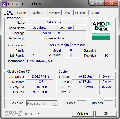 screenshot of CPU-Z validation for Dump [a0chnw] - Submitted by  sburnolo  - 2013-11-05 18:11:41
