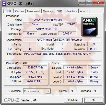 screenshot of CPU-Z validation for Dump [ajjtnn] - Submitted by  PTT  - 2013-12-28 10:12:56