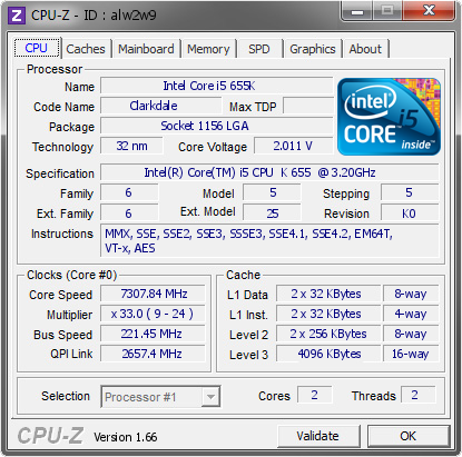 screenshot of CPU-Z validation for Dump [alw2w9] - Submitted by  duck@Intel Japan KK  - 2010-09-01 21:09:22