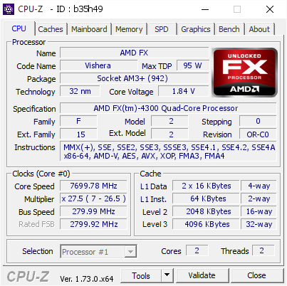 screenshot of CPU-Z validation for Dump [b35h49] - Submitted by  johni5  - 2015-10-30 19:50:11