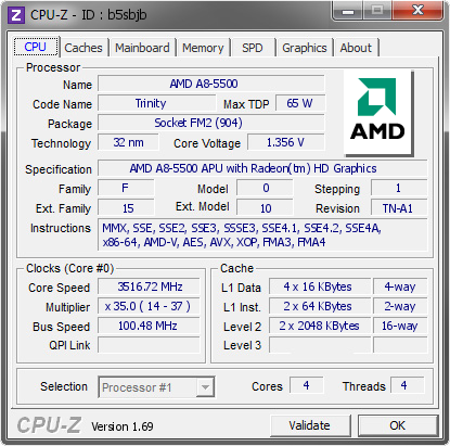 screenshot of CPU-Z validation for Dump [b5sbjb] - Submitted by  Kryshen  - 2014-09-07 02:09:23