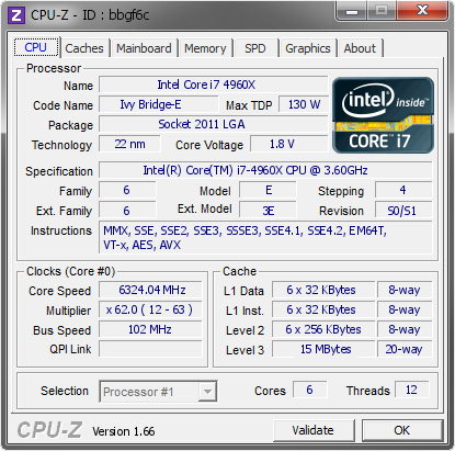 screenshot of CPU-Z validation for Dump [bbgf6c] - Submitted by  Toppc  - 2013-09-26 09:09:00