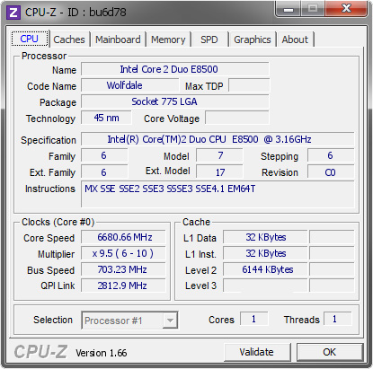 screenshot of CPU-Z validation for Dump [bu6d78] - Submitted by  duck  - 2008-08-06 16:08:37