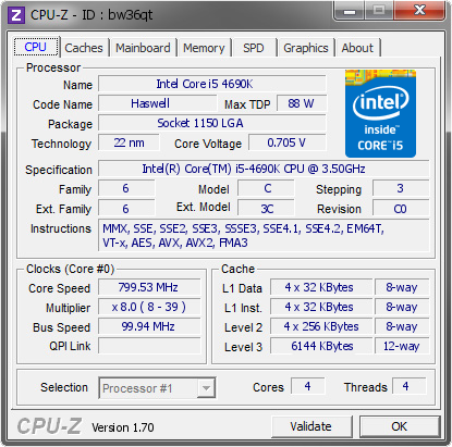 screenshot of CPU-Z validation for Dump [bw36qt] - Submitted by  jkpwed  - 2014-07-29 01:07:03
