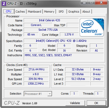 screenshot of CPU-Z validation for Dump [c589vg] - Submitted by  Putte_br  - 2014-04-17 13:04:44