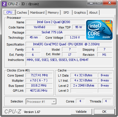 screenshot of CPU-Z validation for Dump [dpyaxz] - Submitted by  ROBBI-PC  - 2014-01-09 20:01:58