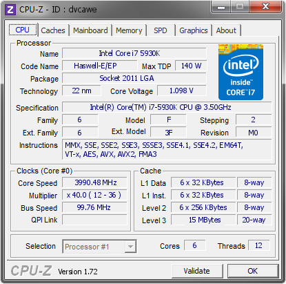 screenshot of CPU-Z validation for Dump [dvcawe] - Submitted by  X99-5930K  - 2015-03-28 03:03:32