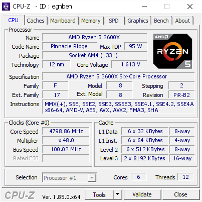 screenshot of CPU-Z validation for Dump [egnben] - Submitted by  Greyshaw  - 2018-05-26 16:09:45