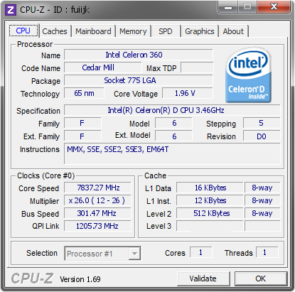 screenshot of CPU-Z validation for Dump [fuiijk] - Submitted by  VORTEX  - 2014-03-20 20:03:24