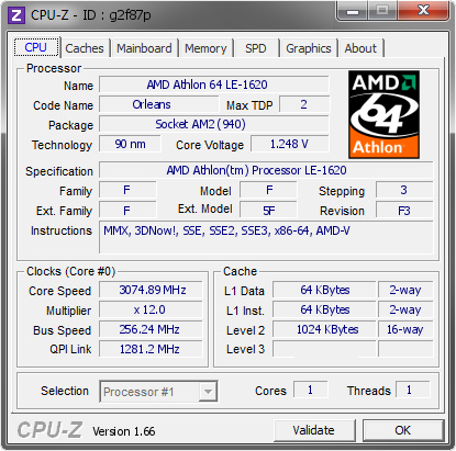 screenshot of CPU-Z validation for Dump [g2f87p] - Submitted by  JeffS2Duda  - 2013-10-10 03:10:33