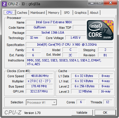 screenshot of CPU-Z validation for Dump [g6q33a] - Submitted by  CHRISTOPHE-PC2  - 2014-09-22 12:09:57
