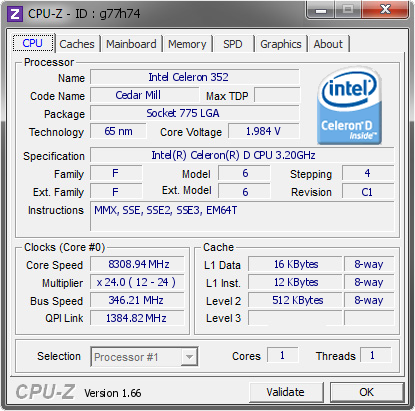 screenshot of CPU-Z validation for Dump [g77h74] - Submitted by  TaPaKaH  - 2011-08-19 18:08:39