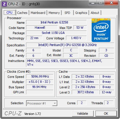 screenshot of CPU-Z validation for Dump [gntq30] - Submitted by  zairod  - 2015-03-26 11:03:01