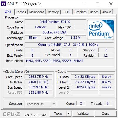 Intel Pentium E2140 266375 Mhz Cpu Z Validator