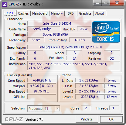 screenshot of CPU-Z validation for Dump [gwrb9k] - Submitted by  WIN-J26E4L6H067  - 2014-12-23 23:12:10