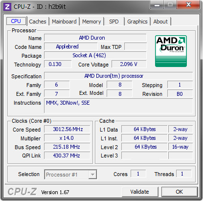 screenshot of CPU-Z validation for Dump [h2b9it] - Submitted by  TaPaKaH  - 2014-02-08 18:02:56