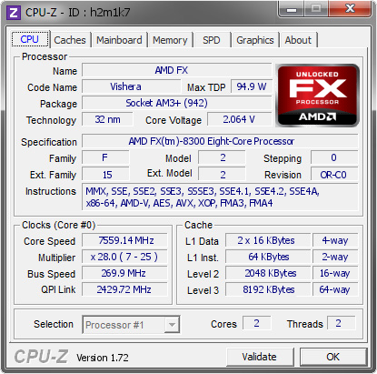 screenshot of CPU-Z validation for Dump [h2m1k7] - Submitted by  Fire Vadim  - 2015-06-13 03:06:45