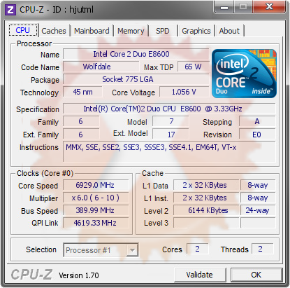 screenshot of CPU-Z validation for Dump [hjutml] - Submitted by  万雷  - 2014-08-08 16:08:41