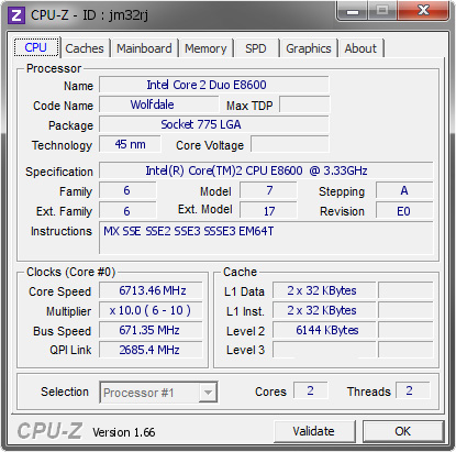 screenshot of CPU-Z validation for Dump [jm32rj] - Submitted by  tsan  - 2009-05-29 02:05:17