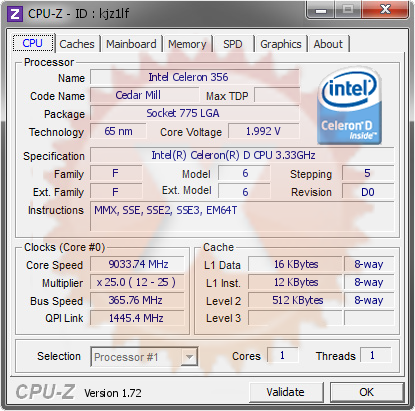screenshot of CPU-Z validation for Dump [kjz1lf] - Submitted by  Boblemagnifique Celery 356 LN2 9 gigots  - 2015-07-25 20:07:48