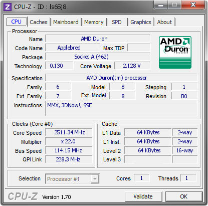 screenshot of CPU-Z validation for Dump [ls65j8] - Submitted by  Snegovick  - 2014-09-13 14:09:21