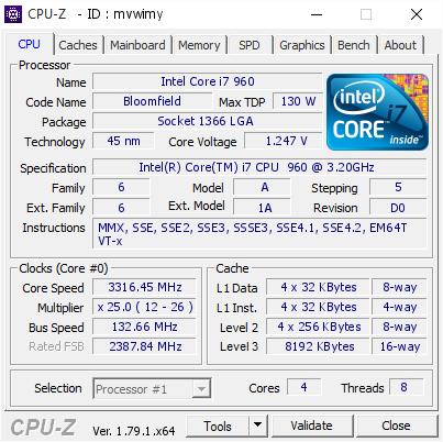 Intel Core I7 960 331645 Mhz Cpu Z Validator