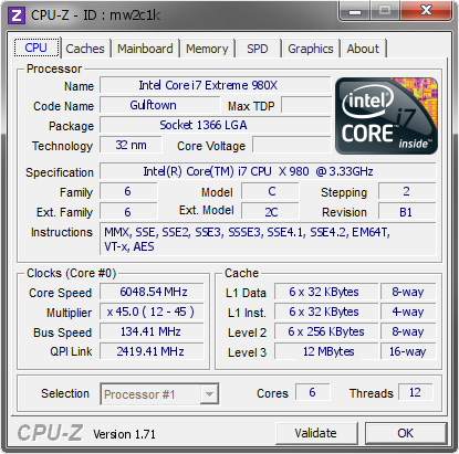 screenshot of CPU-Z validation for Dump [mw2c1k] - Submitted by  ivanov  - 2014-12-14 02:12:18