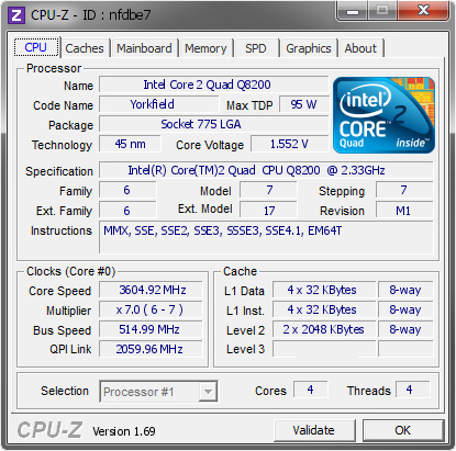 screenshot of CPU-Z validation for Dump [nfdbe7] - Submitted by  SEVEN-PC  - 2014-10-23 00:10:51